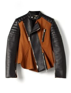 3.1 Phillip Lim Luxury Moto Leather Peplum Chic Cinnamon, black Leather Jacket