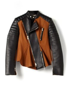 3.1 Phillip Lim Luxury Moto Peplum Chic Cinnamon, black Leather Jacket