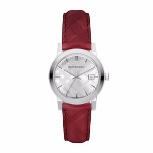 Burberry Women's Swiss The Classic Red Check Embossed Leather Strap Watch