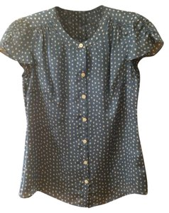 Banana Republic Top Blue with cream dots