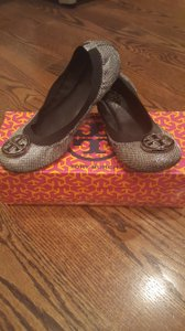 Tory Burch Silver/ gray with black Flats