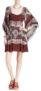 Free People short dress Scarlett Print Bell Sleeve Raw Edge Empire Waist Boho on Tradesy
