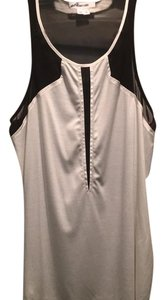 Helmut Lang Silk Satin Fitted Racer-back Top black and white