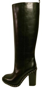 Chanel Chain Knee High Black Boots