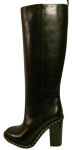 Chanel Cc Chain Knee High Black Boots