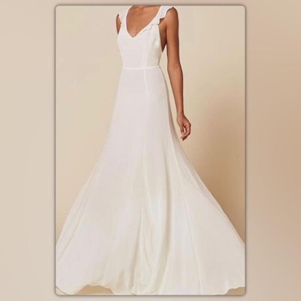 Reformation white isabella feminine wedding dress size 0 Wedding dress xs