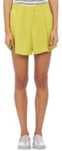A.L.C. Luxury Crepe Drape Made In Usa Mini/Short Shorts Yellow chartreuse