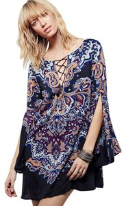 Free People short dress blue Bell Sleeves V-neck Crisscross Strap on Tradesy