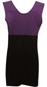 American Apparel short dress black and purple Bodycon Cotton Scoop Fitted on Tradesy