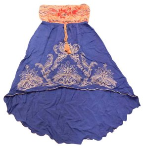 Flying Tomato short dress Peach and Blue Embroidered High Low Strapless Floral Aztec on Tradesy