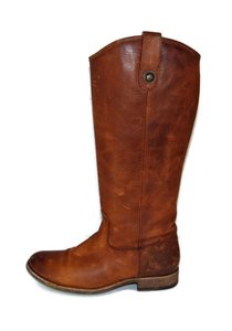 Frye Melissa Button Riding Cognac Antiqued Leather Extended Calf Brown Boots