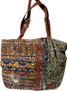 Sakroots Embroidered Embellished Bohemian Studded Faux Leather Tote in Multi-Colored