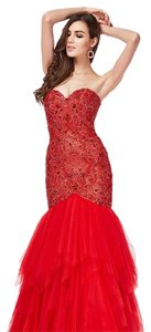 Angela and Alison Prom Embroidered Beaded Mermaid Formal Dress