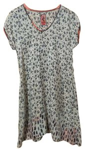 Johnny Was Silk Pockets Short Sleeve Flowers Tunic