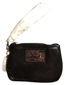 Coach Poppy Patent Leather Gold Hardware Wristlet in Black