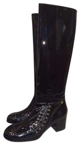 Chanel Cc Patent Lace Up Knee High Black Boots