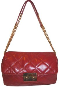 Michael Kors Refurbished Leather Red Lined Cross Body Bag