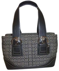 Coach Refurbished Monogram Jacquard Lined Tote in Black and Grey