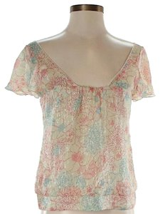 Twelfth St. by Cynthia Vincent Silk Floral Metallic Top Ivory