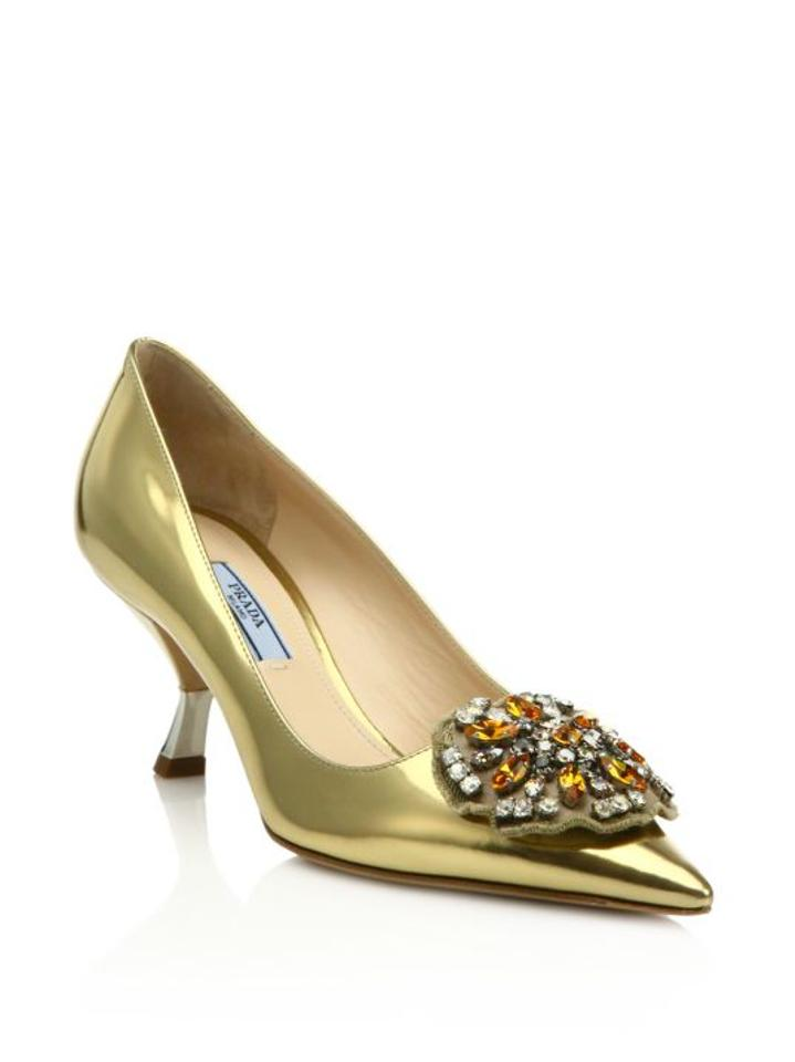 Detail It38 Prada Pumps Leather Patent Brooch Gold ESxxHqU