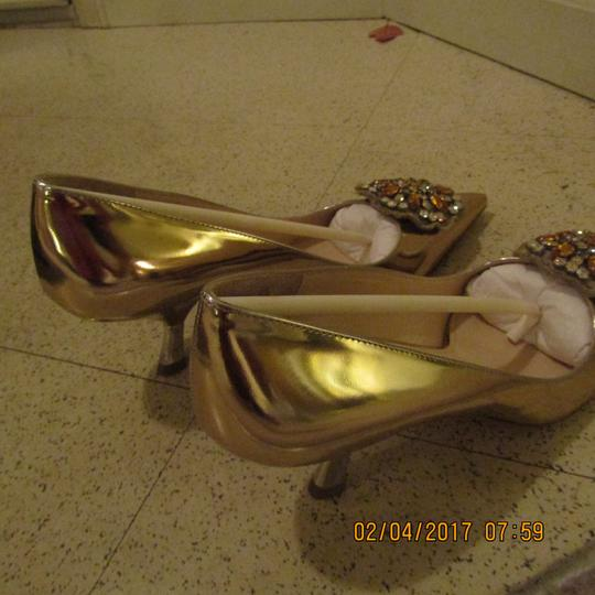 Prada Statement Wedding Party Night Out Gold Pumps
