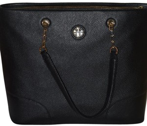Tory Burch Leather Tory Handbag Tote in Black