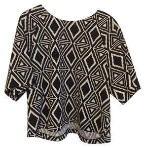 Bobeau Print Top Black/White