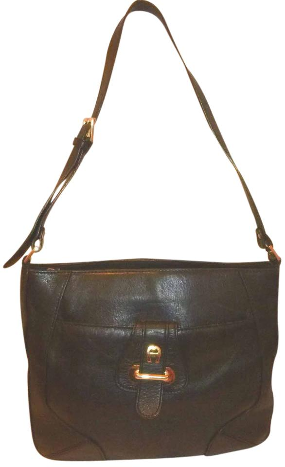 7550dd21e8 Etienne Aigner Handbag Black Leather Shoulder Bag - Tradesy