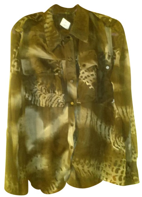 Item - Black Gray Made In Italy Sheer Print Silk Blouse Size 14 (L)