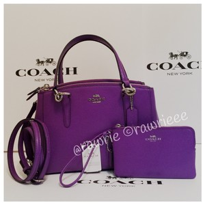 Coach Set Gift Set Gift Box Matching Set Leather Satchel in Purple