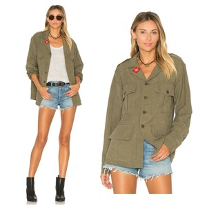 Smythe Coat Army Shirt Distressed Surplus Size Medium Patch Detail Army Military Jacket