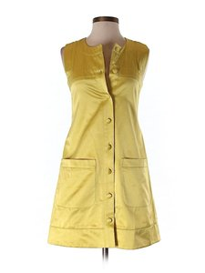 French Connection Button-front Pockets Sleeveless Shift Dress