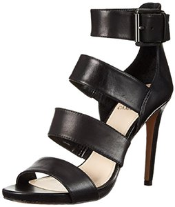Vince Camuto Leather Strappy Stiletto Black Sandals