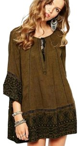Free People Cotton Embroidered Tassels Cut Out Tunic