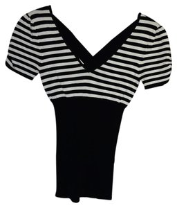 bebe Stripes Top Black and White