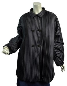 Armani Collezioni Italian Pleated Bubble Hem Double Breasted Oversized Black Jacket