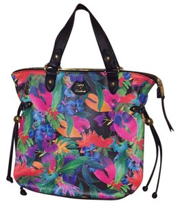 Juicy Couture Satchel in black & multicolored floral print