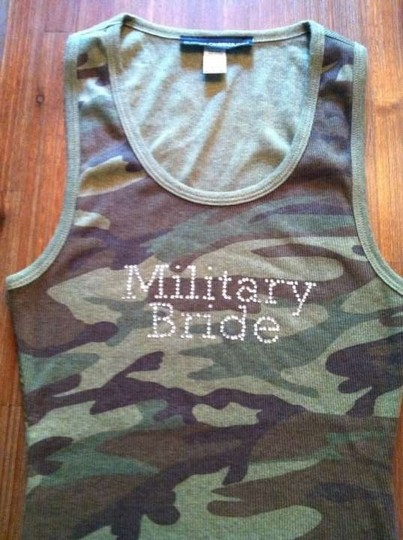 Army Green with Clear Crystals Military Bride Tank