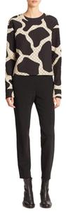 DKNY Silk Quilted Animal Print Top Black