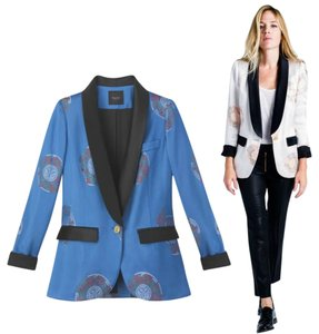 Smythe X Beaufille Smoking Pacific Brocade Size 4 Blue Jacket