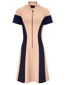 Cédric Charlier short dress Pink, Navy Color-blocking Scuba Slimfit Tight on Tradesy
