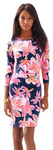 Lilly Pulitzer short dress Bright Navy Via Sunny Fitted Tropical Comfortable Floral 3/4 Length Sleeves on Tradesy