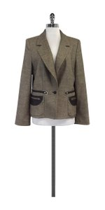 Hervé Leger Brown Leather Trimmmed Tweed Blazer