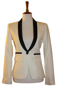 Smythe Tuxedo Size 4 Viscose Black Silk Trim Sale White Blazer