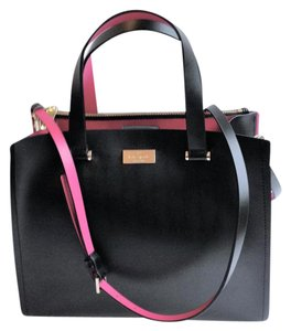 Kate Spade Leather Convertible Crossbody Bright Satchel in Black and Pink
