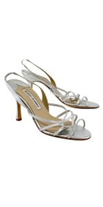 Manolo Blahnik Silver Leather Strappy Sandals
