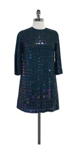 French Connection short dress Teal Sequin Shift on Tradesy