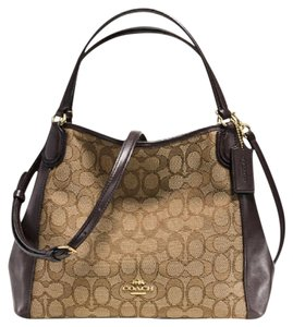 Coach Leather Tags New Edde Large Satchel in Khaki Brown