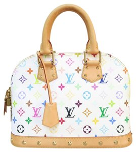 Louis Vuitton Lv Multicolor Alma Pm Canvas Tote in white