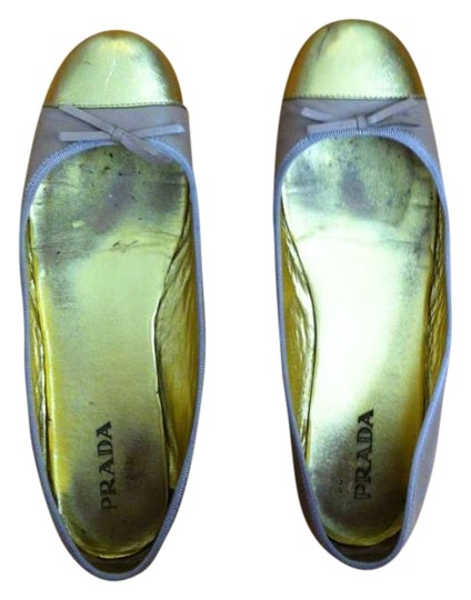 Prada Leather Two-tone Ballet Tan, Gold Flats